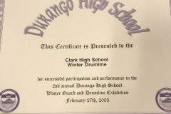 2003 - Durango Winter Guard and Drum Line Exhibition